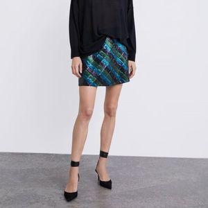Zara Sequin Skirt New  with Tages Medium